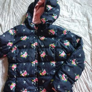 Faded Glory Youth floral winter hooded puffer coat